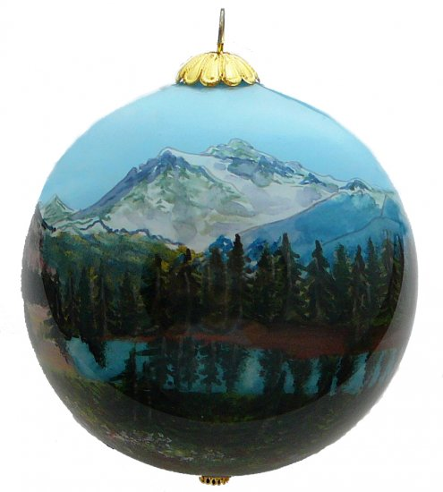 Mountain Trees & Pond Ornament - Click Image to Close