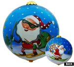 Skiing Santa Ornament